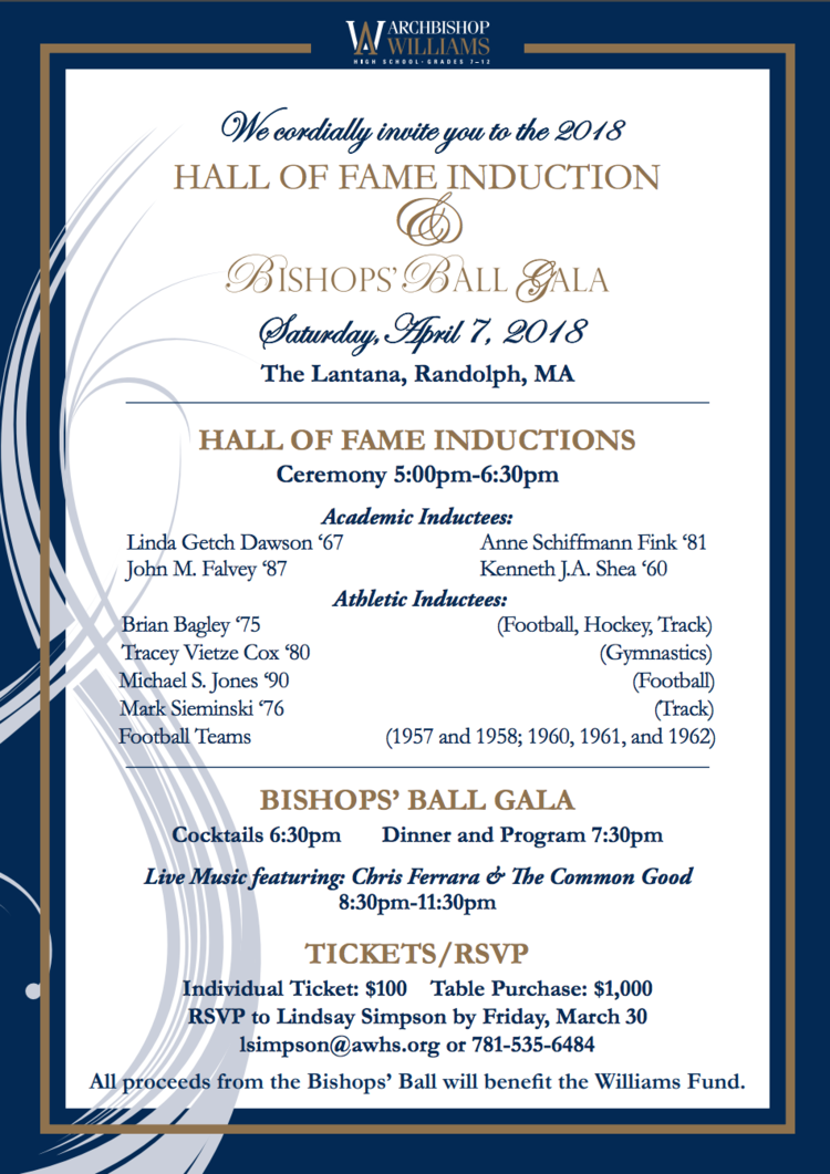 Archbishop Williams High School 2018 Hall of Fame Induction Ceremony program