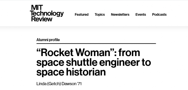 """MIT Technology Review: """"Rocket Woman"""": from space shuttle engineer to space historian"""